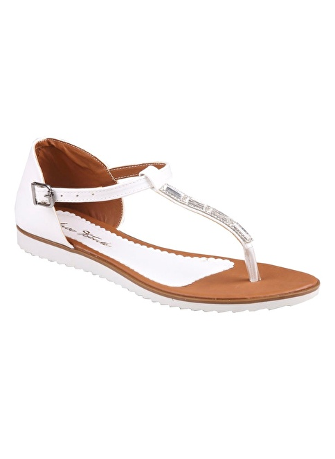İnce Topuk Sandalet Beyaz